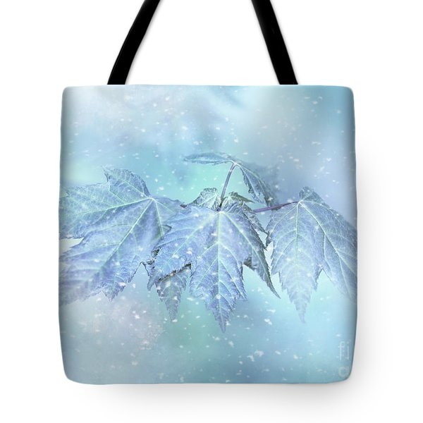 Snowy Baby Leaves Tote Bag