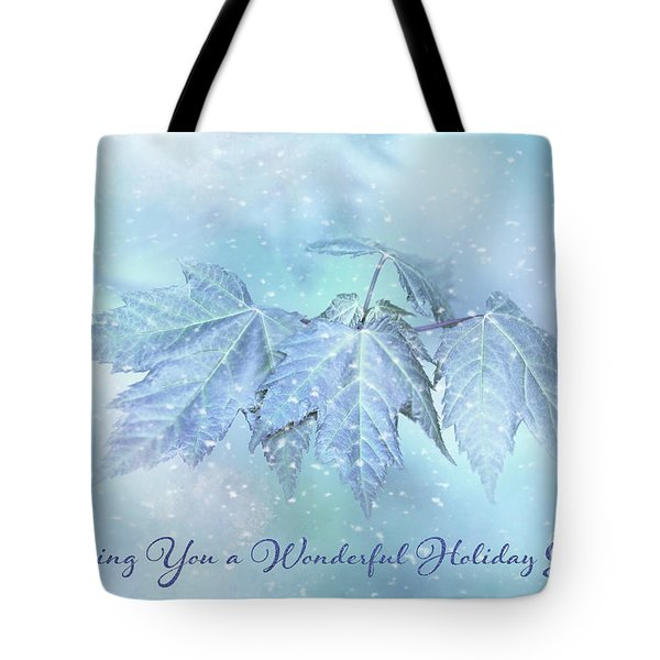 Snowy Baby Leaves Winter Holiday Card Tote Bag