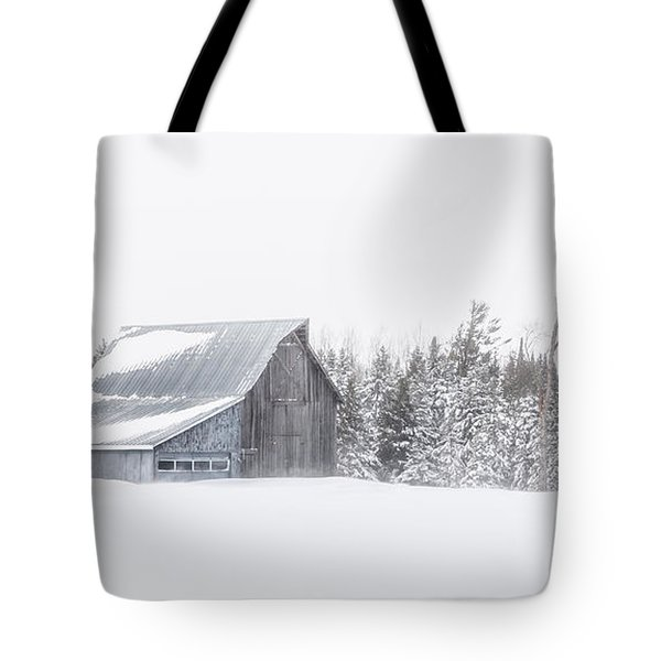 Tote Bag featuring the photograph Snowy Barn by Dan Traun