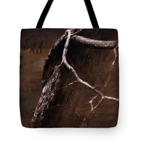 Snowy Branch With Wild Boars Tote Bag
