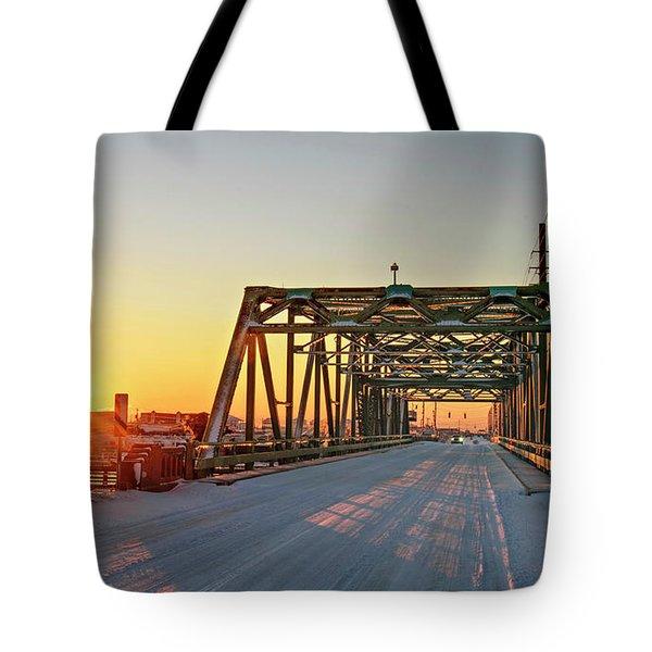 Snowy Bridge Tote Bag
