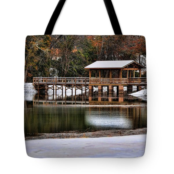 Snowy Bridge Tote Bag