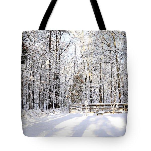 Snowy Chicken Coop Tote Bag