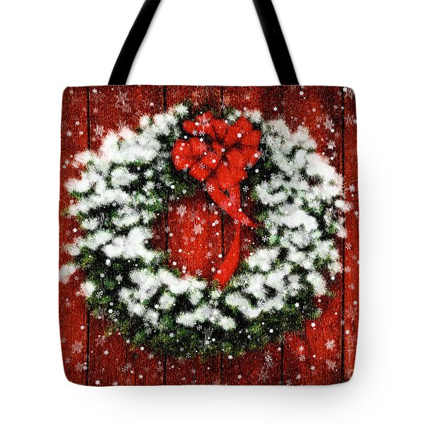 Snowy Christmas Wreath Tote Bag