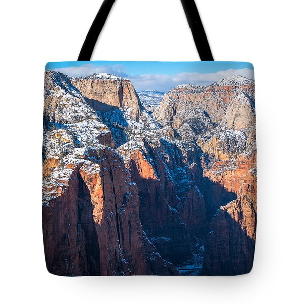 Snowy Cliffs Of Zion National Park Tote Bag