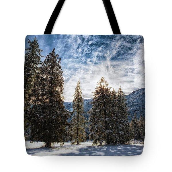 Snowy Clouds Tote Bag