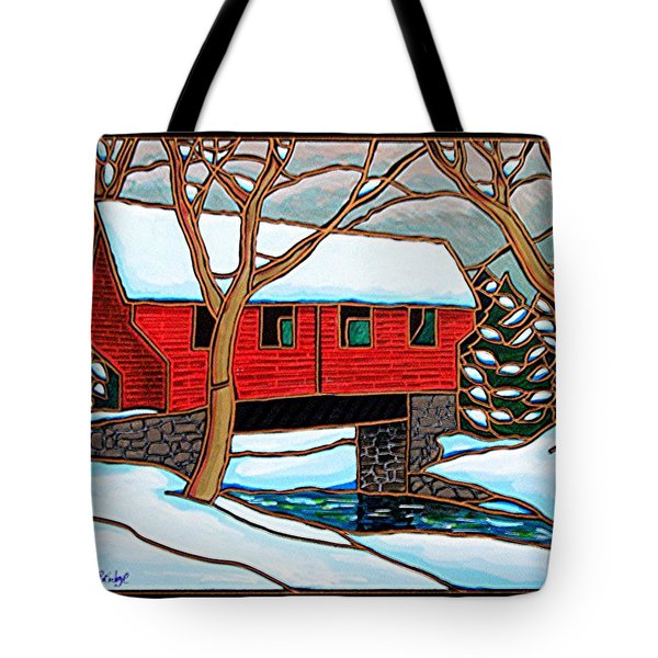 Snowy Covered Bridge Tote Bag