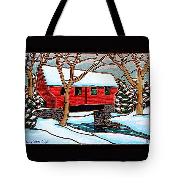 Snowy Covered Bridge Tote Bag