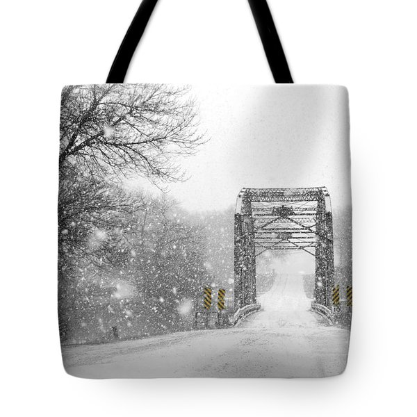 Snowy Day And One Lane Bridge Tote Bag by Kathy M Krause