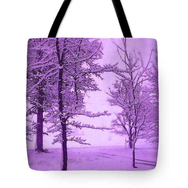 Tote Bag featuring the photograph Snowy Day In Purple by Michelle Audas