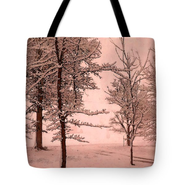 Tote Bag featuring the photograph Snowy Day In Rose by Michelle Audas