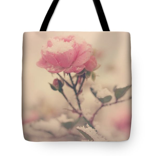 Snowy Day Of Roses Tote Bag