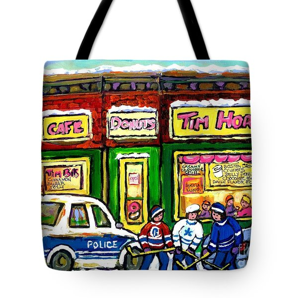 Snowy Day Original Canadian Hockey Art Paintings For Sale The Donut Shop Hot Coffee At Tim Horton's Tote Bag