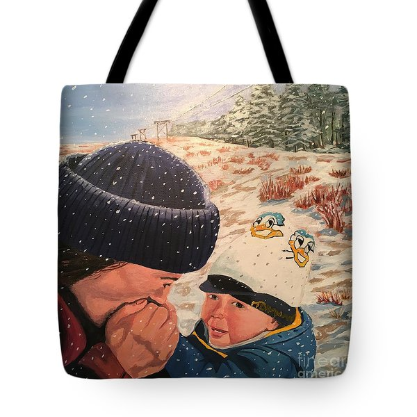 Snowy Day With My Dad Tote Bag