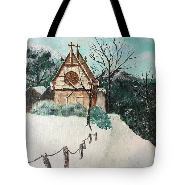 Tote Bag featuring the painting Snowy Daze by Denise Tomasura