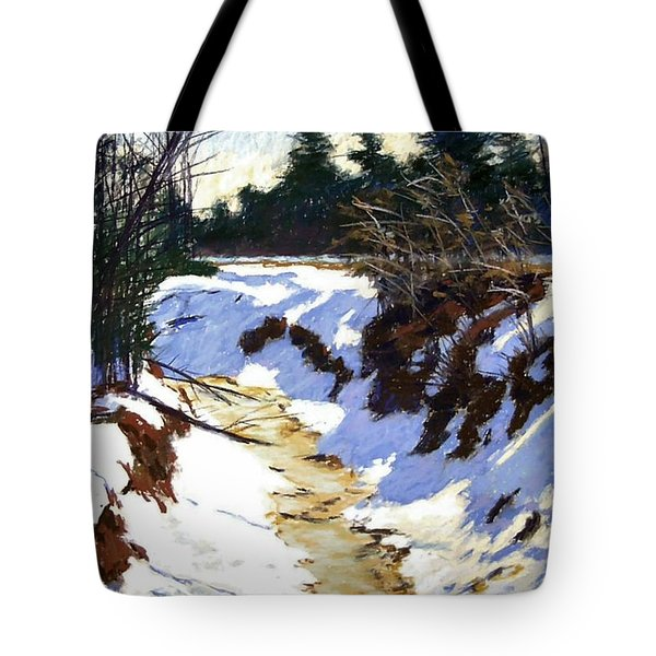 Snowy Ditch Tote Bag by Mary McInnis