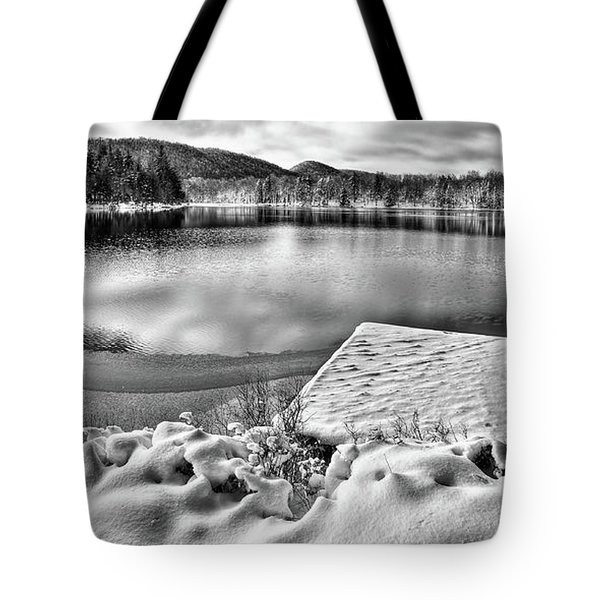 Tote Bag featuring the photograph Snowy Dock by David Patterson