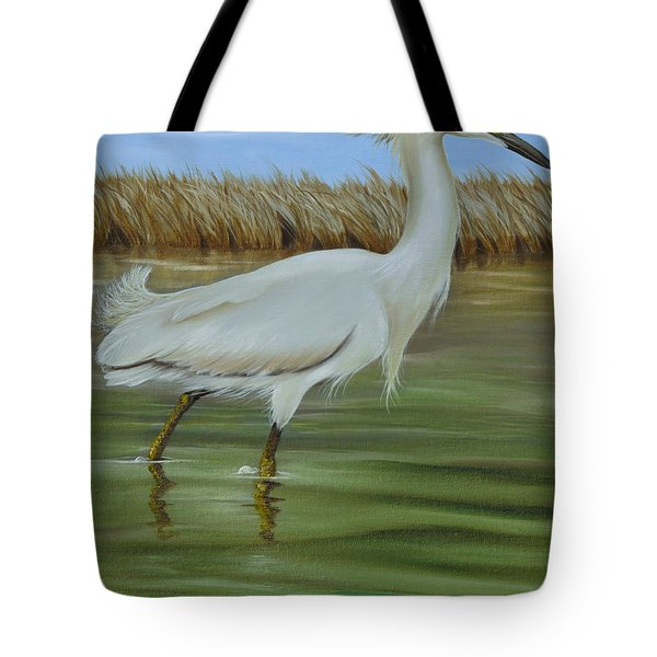 Tote Bag featuring the painting Snowy Egret 1 by Phyllis Beiser