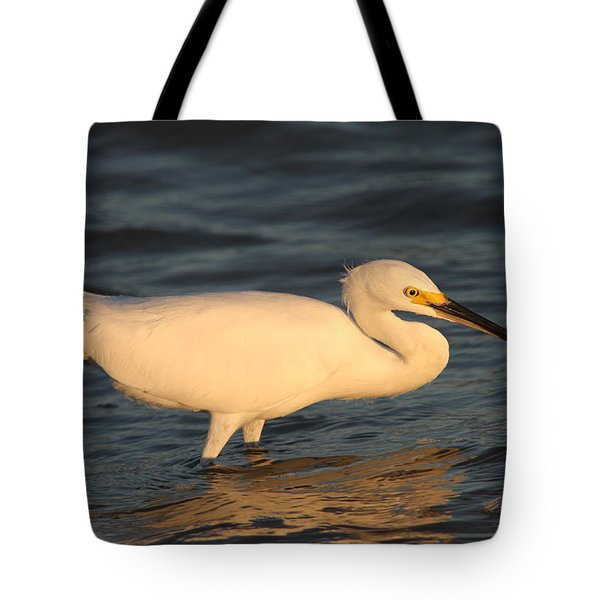 Tote Bag featuring the photograph Snowy Egret By Sunset by Christiane Schulze Art And Photography