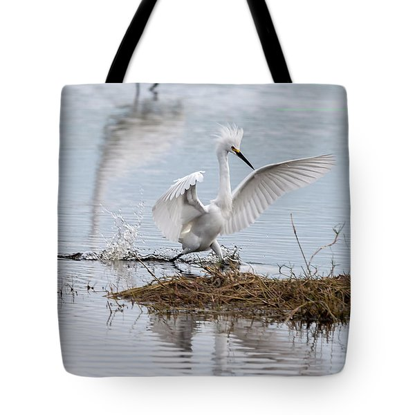 Snowy Egret Chasing His Dinner Tote Bag
