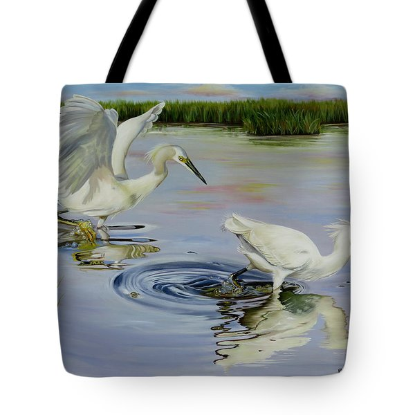 Snowy Egret Hunting Party Tote Bag