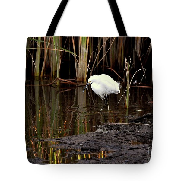 Snowy Egret In Late Afternoon Tote Bag
