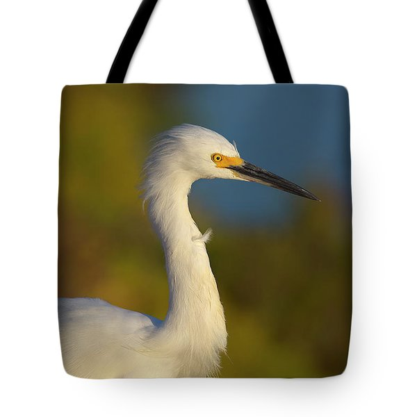 Snowy Egret In The Wind Tote Bag