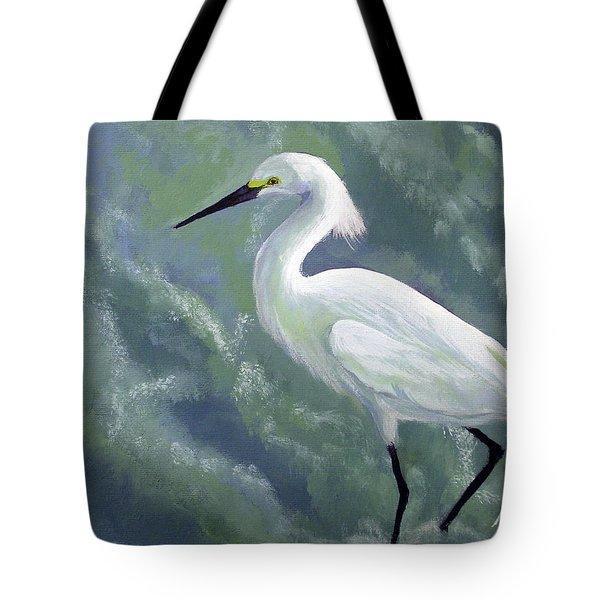 Snowy Egret In Water Tote Bag