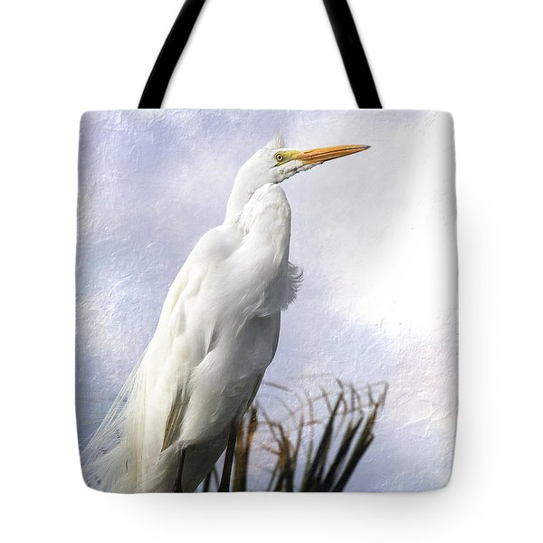 Tote Bag featuring the digital art Snowy Egret by Michele A Loftus