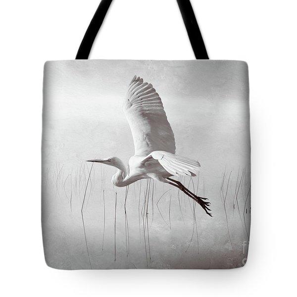Snowy Egret Morning Bw Tote Bag