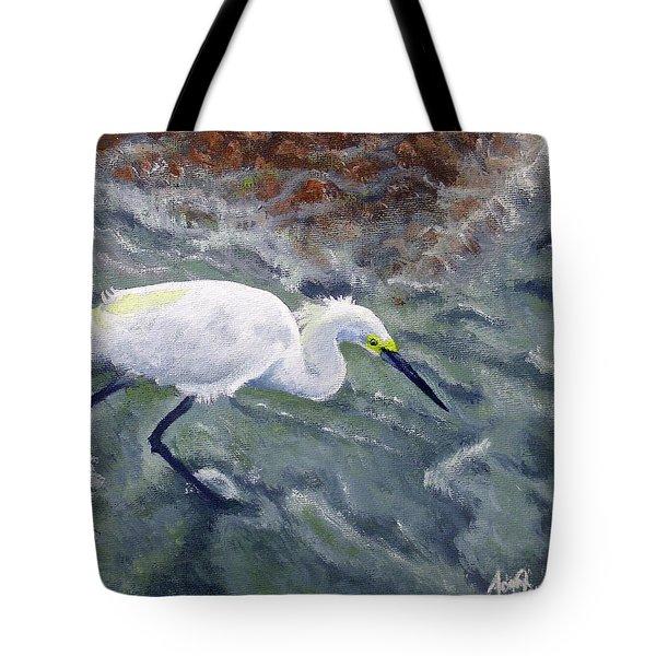 Snowy Egret Near Jetty Rock Tote Bag