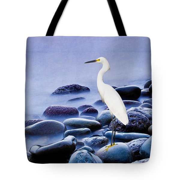 Snowy Egret On The Rocks Tote Bag