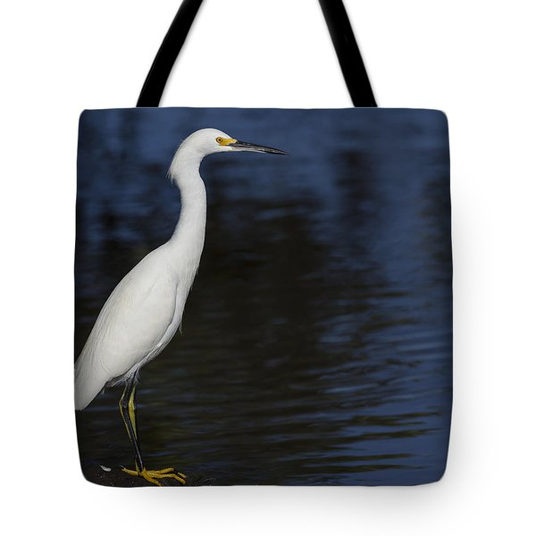 Snowy Egret Perched On A Rock Tote Bag