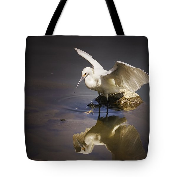 Snowy Egret Reflection Tote Bag by Janis Knight