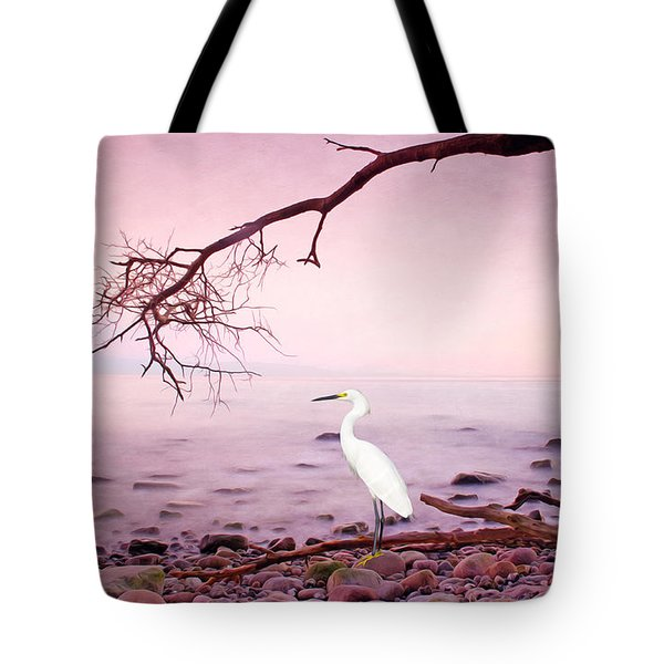 Snowy Egret Solitude Tote Bag