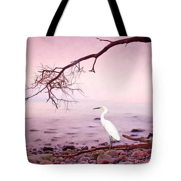 Snowy Egret Solitude Tote Bag