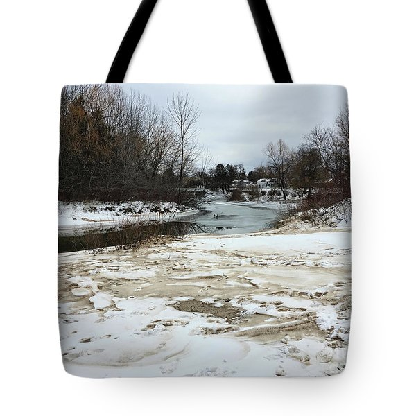 Snowy Elk Rapids River Tote Bag