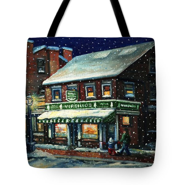Snowy Evening In Gloucester, Ma Tote Bag