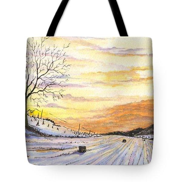 Snowy Farm Tote Bag