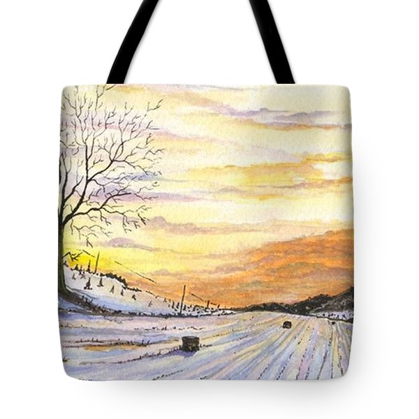 Tote Bag featuring the digital art Snowy Farm by Darren Cannell