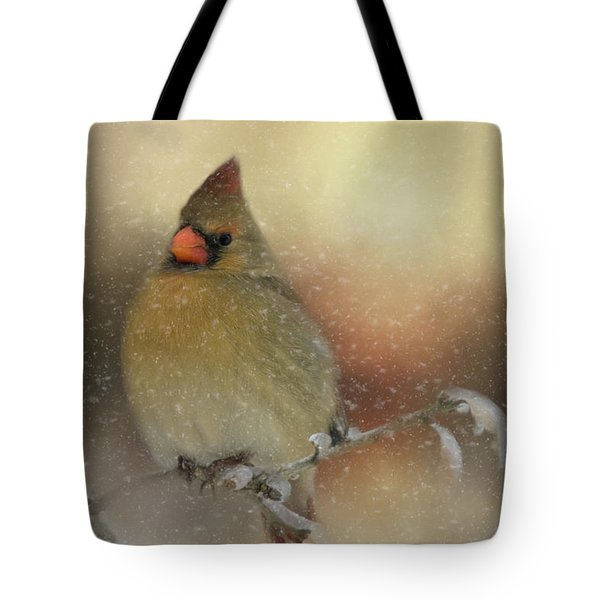 Tote Bag featuring the photograph Snowy Female Cardinal by Lana Trussell
