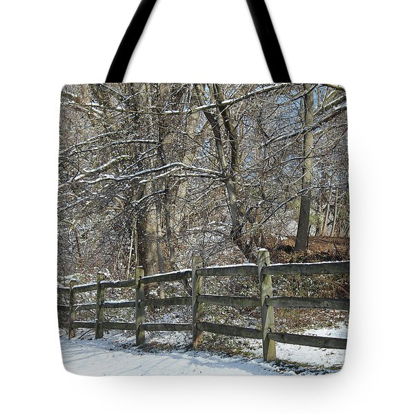 Winter Fence Tote Bag
