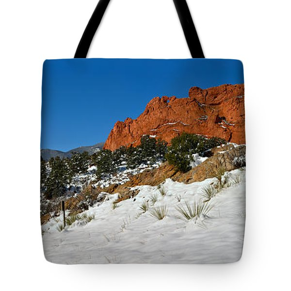 Tote Bag featuring the photograph Snowy Fields At Garden Of The Gods by Adam Jewell