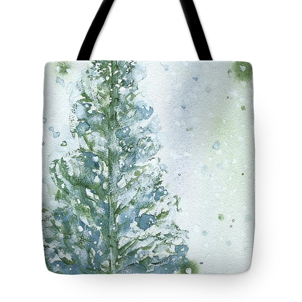 Tote Bag featuring the painting Snowy Fir Tree by Dawn Derman