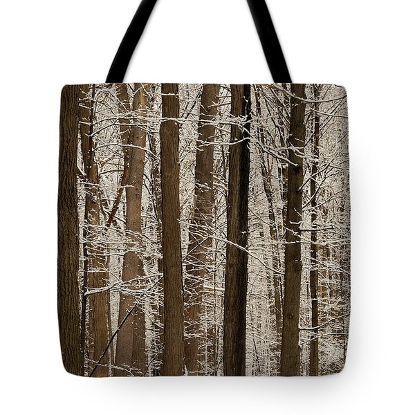 Snowy Forest Elevation Tote Bag