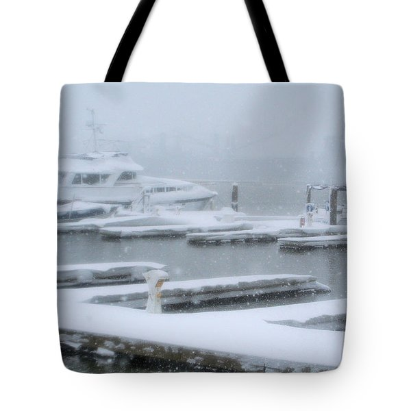 Snowy Harbor Tote Bag