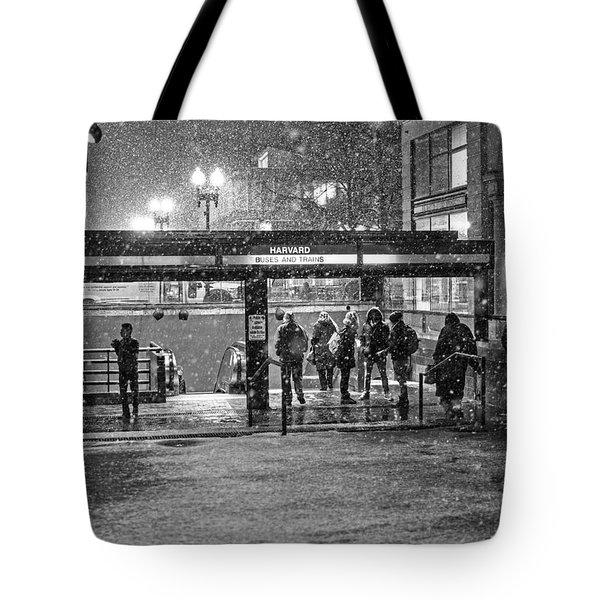 Snowy Harvard Square Night- Harvard T Station Black And White Tote Bag