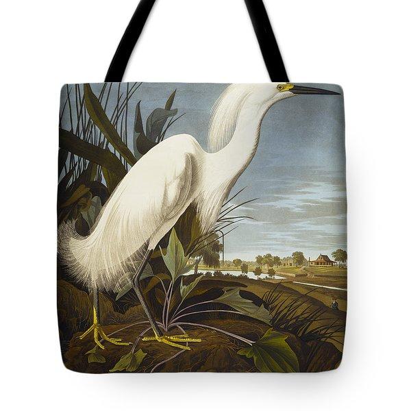 Snowy Heron Tote Bag by John James Audubon