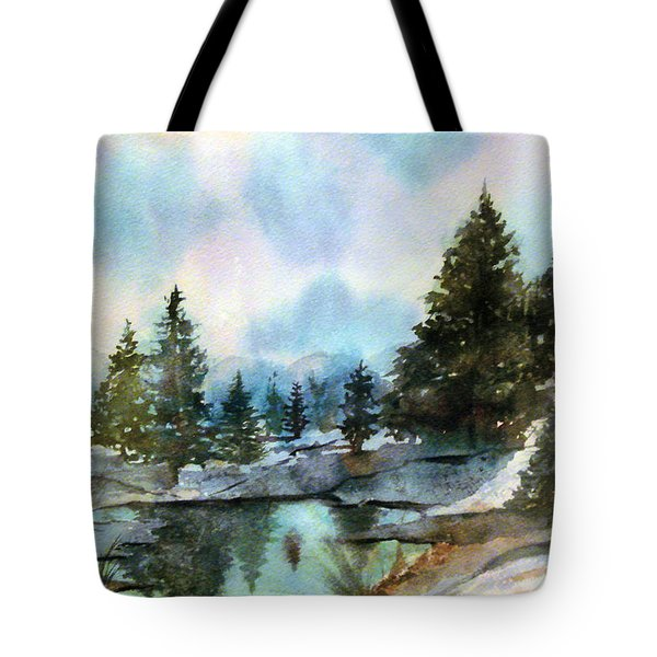 Tote Bag featuring the painting Snowy Lake Reflections by Debbie Lewis