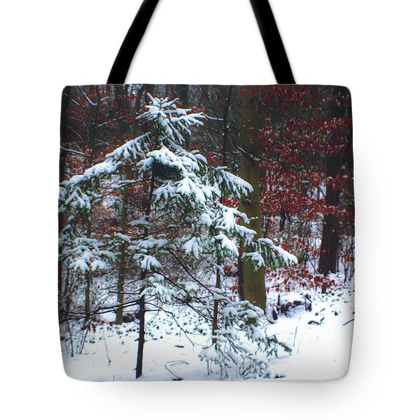 Snowy Little Fir Tote Bag by Sandy Moulder